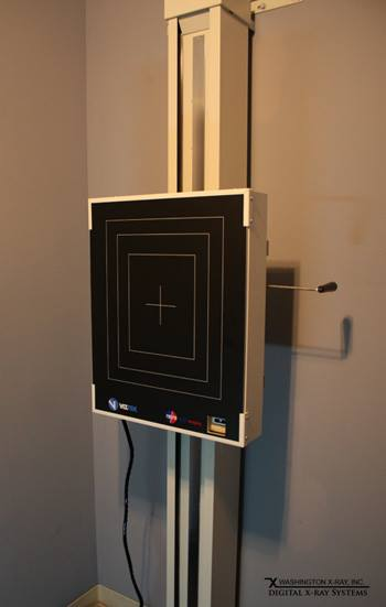 Standard 20/20 Imaging C-DR retrofit on an existing wall stand.